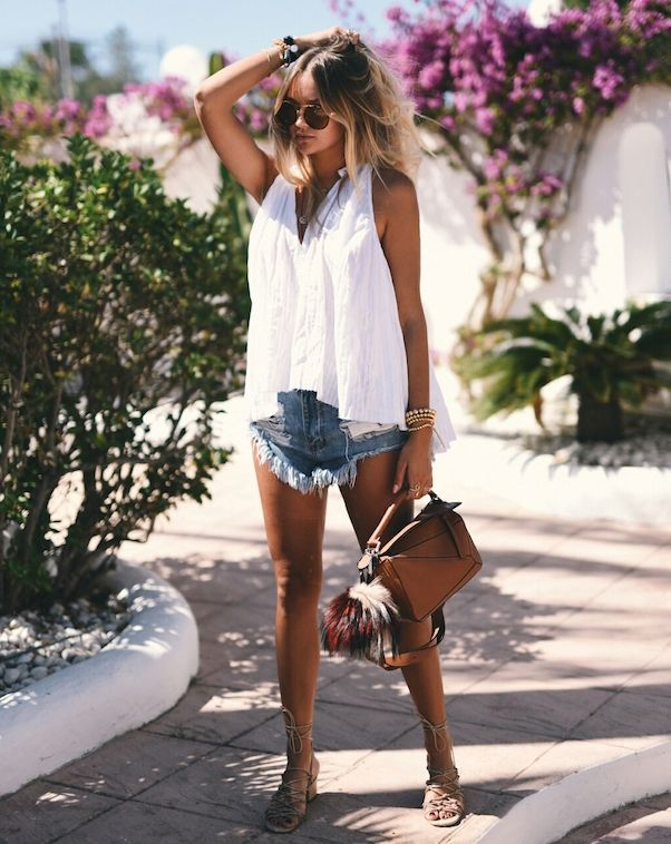 breezy-white-top-with-frayed-shorts