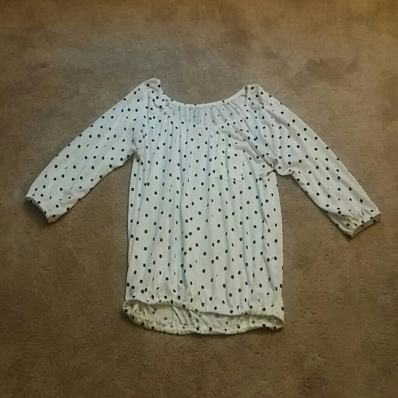 LAST CHANCE **WILL BE DONATED** White shirt with black poka dots. New York & Company Tops Blouses