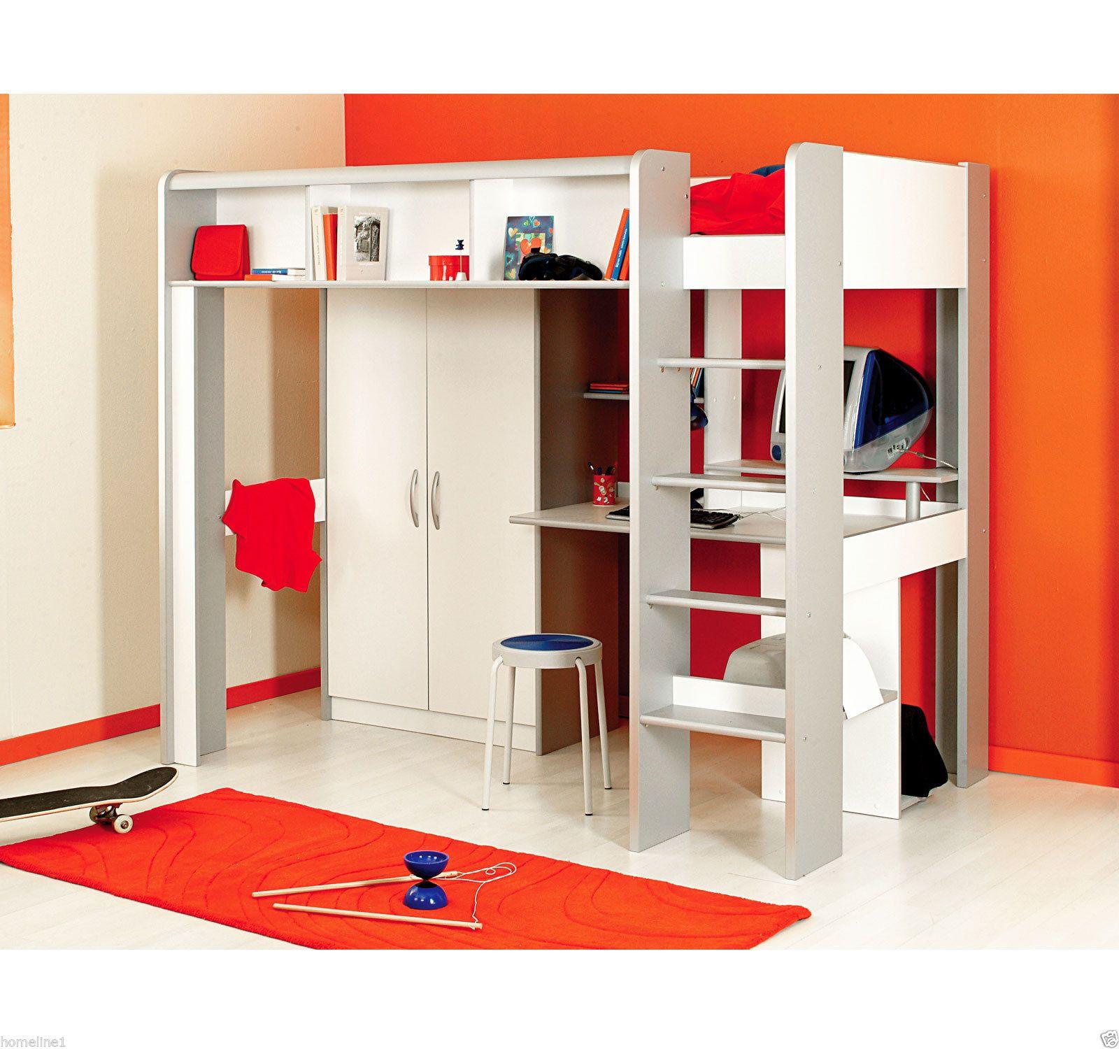 Kinderbett Hochbett mit Treppe Kleiderschrank Schreibtisch weiß ...