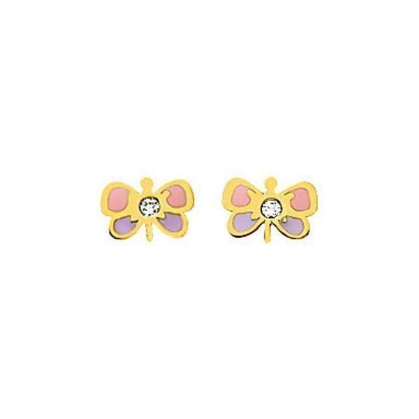 Boucles d'oreilles Papillons - Puces (or jaune 18ct) (PremierBijou) sur PremierCadeau.com