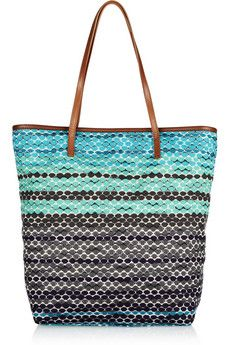 cd93a2136a M Missoni Leather-trimmed crochet-knit tote