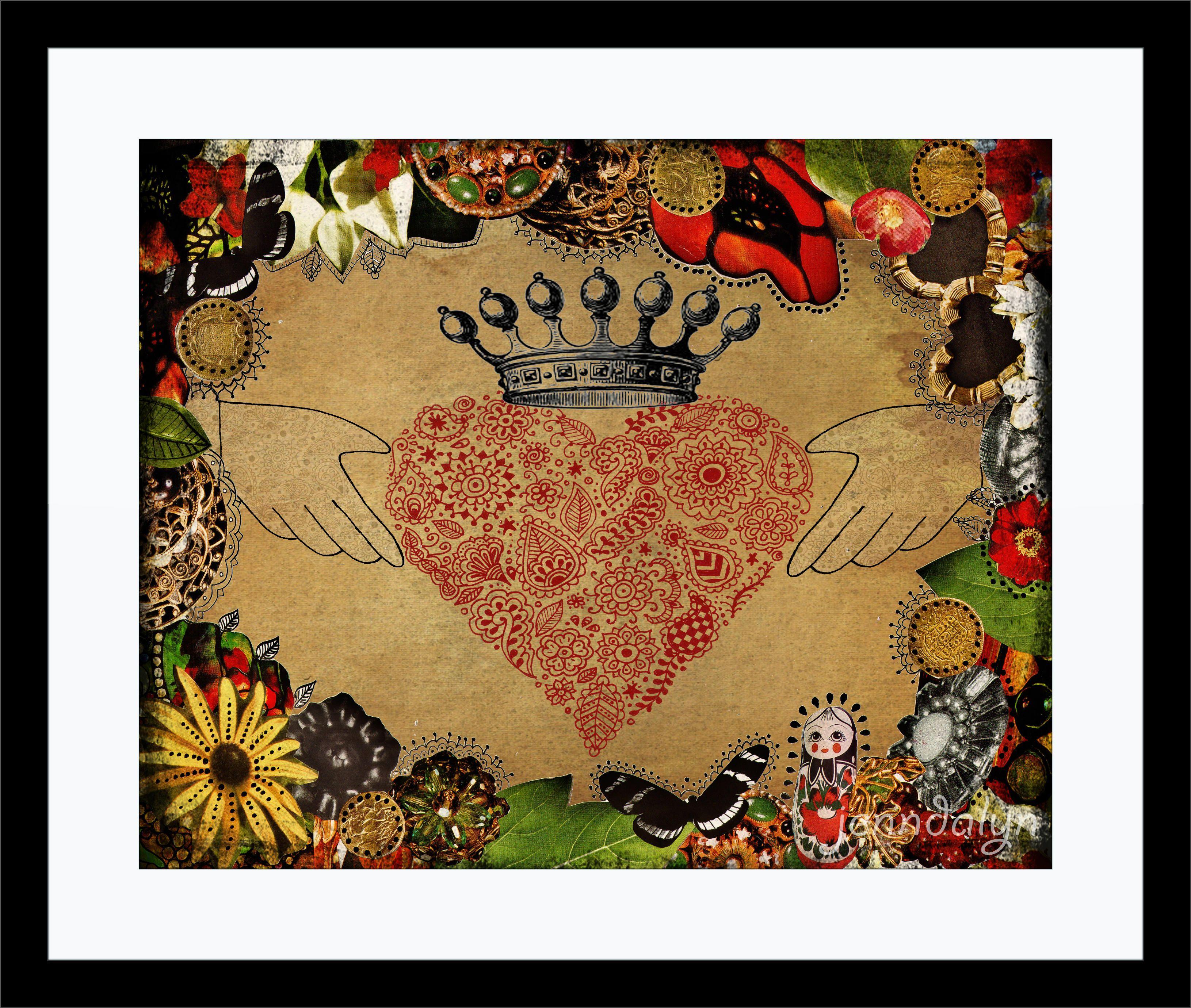 The Claddagh 16 x 20 paper print, irish symbol, heart