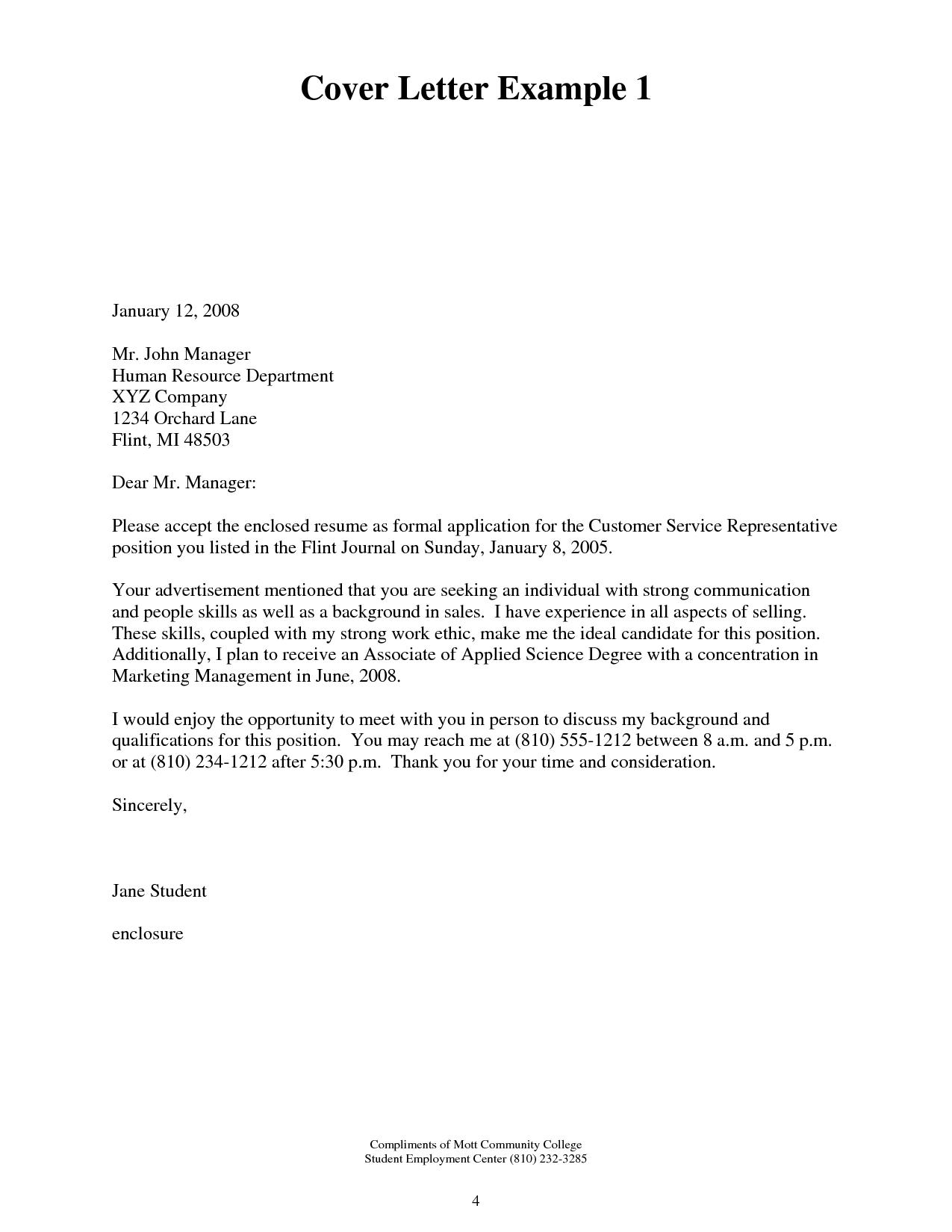 Resume Cover Letter Example Best Template DesktopSimple Cover Letter Application Letter Sample