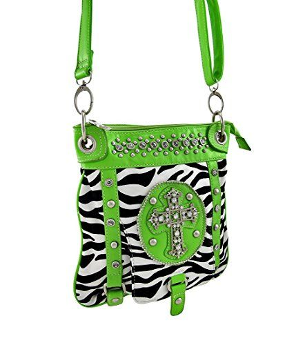 Zebra Print Cross Body Bag with Rhinestone Cross Green Trim * Be sure to check out this awesome product.