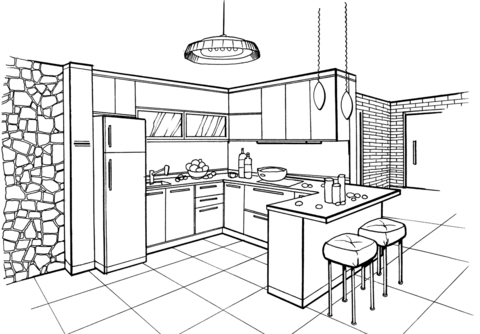 Kitchen in Minimalist Style coloring page from Interior