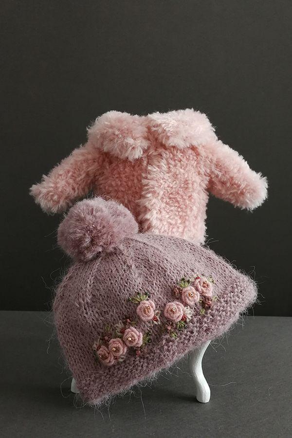 Blythe outfit Blythe hat Blythe cardigan Knitted doll hat, knit Blythe clothes, hat Blythe , Knitted hat Blythe, embroidered hat for Blythe #dollhats