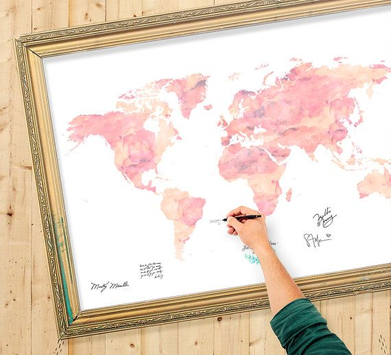 Wedding Guest Book Watercolor World Map Custom Color By Macanaz