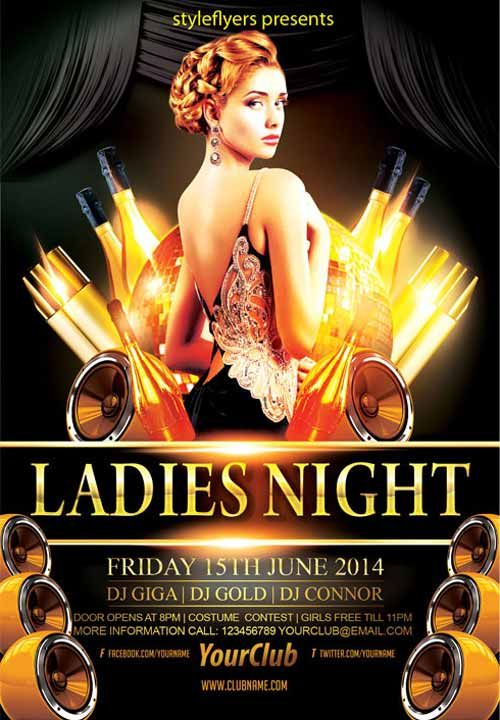 Elegant Ladies Night Party Free Flyer Template  Nightclub Ideas
