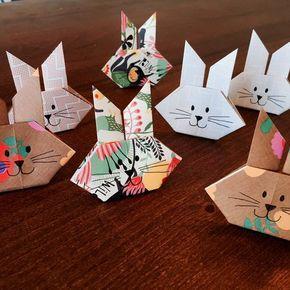 oster origami bunny hasen einfach falten kiga origami hase ostern und origami. Black Bedroom Furniture Sets. Home Design Ideas