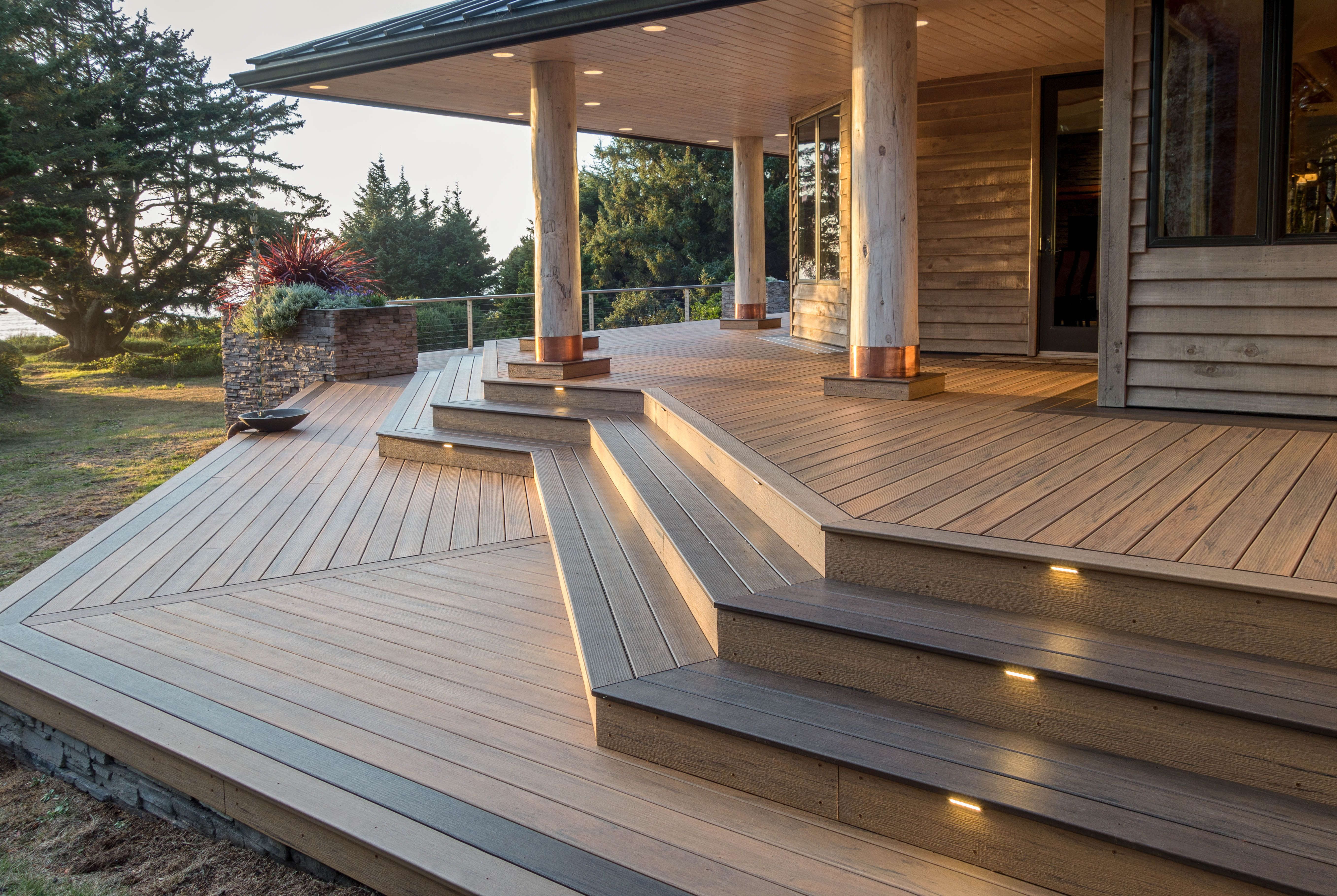 Make Your Backyard One To Remember With A Timbertechdeck Timbertech Decking In Tigerwood From Our Legacy Collect Building A Deck Decks Backyard Deck Lighting