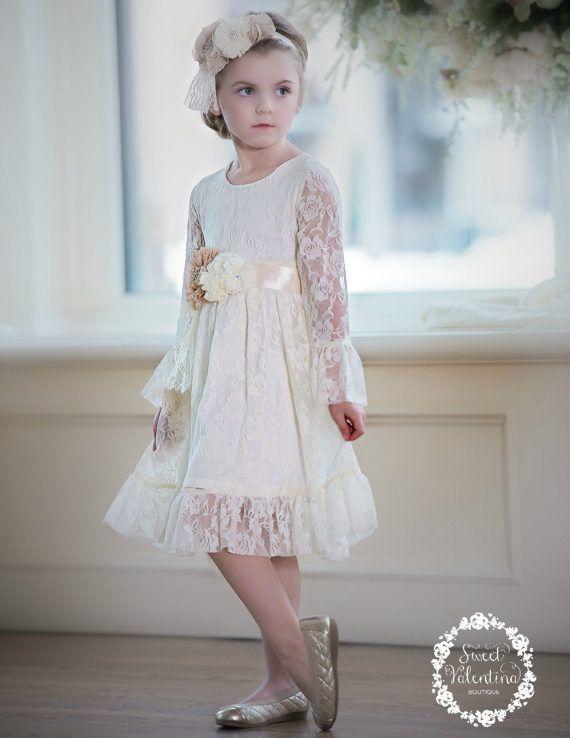 7b36312b2 CLEARANCE Flower girl dress, first communion dress , ivory lace ...