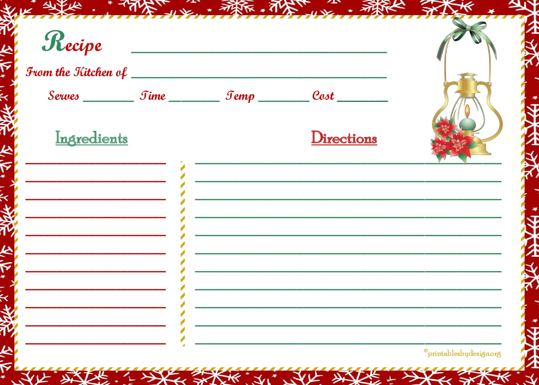 snowflake christmas background recipe card 5x7