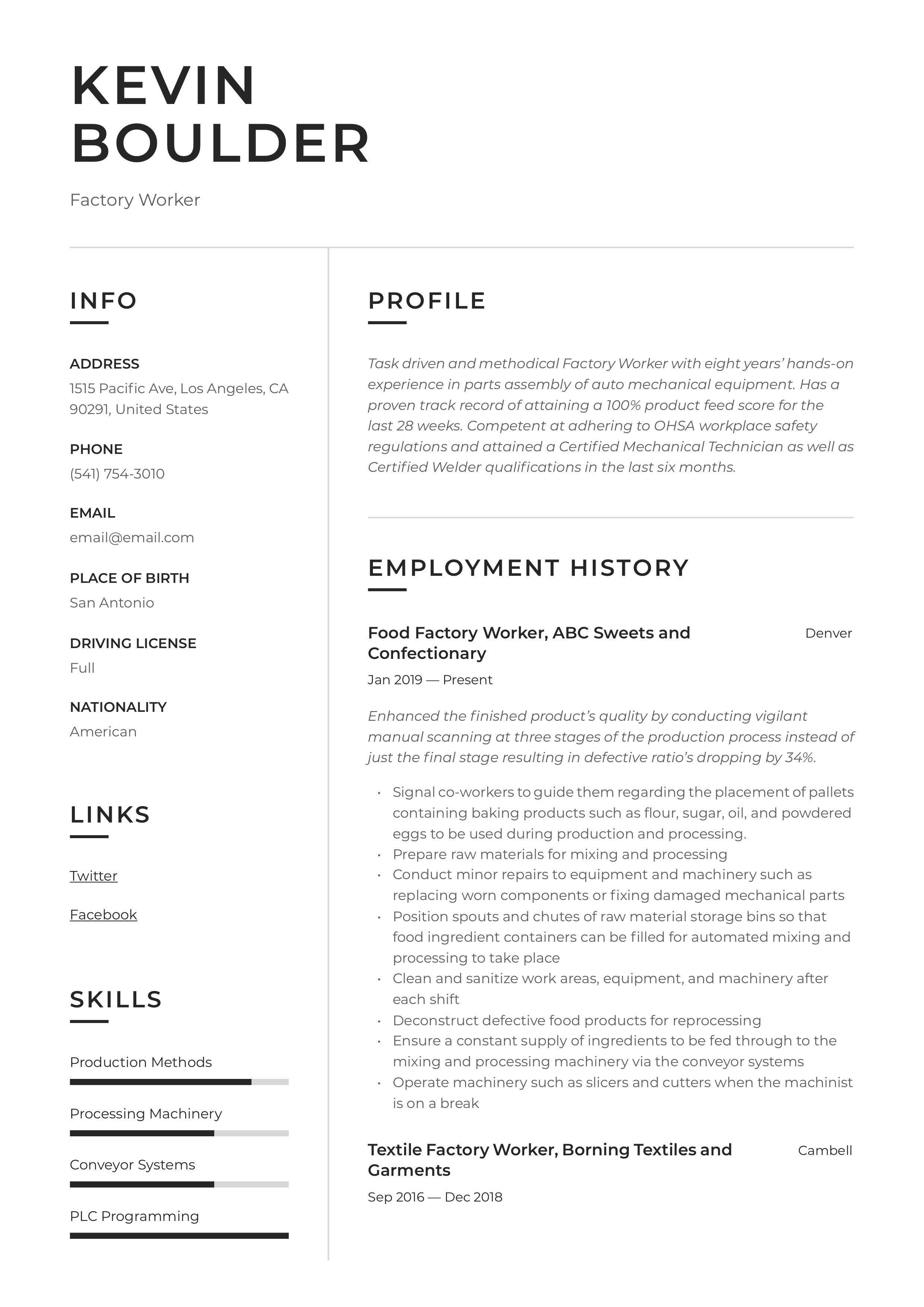 Factory Worker Resume Sample Security Officer Resume Factory Worker
