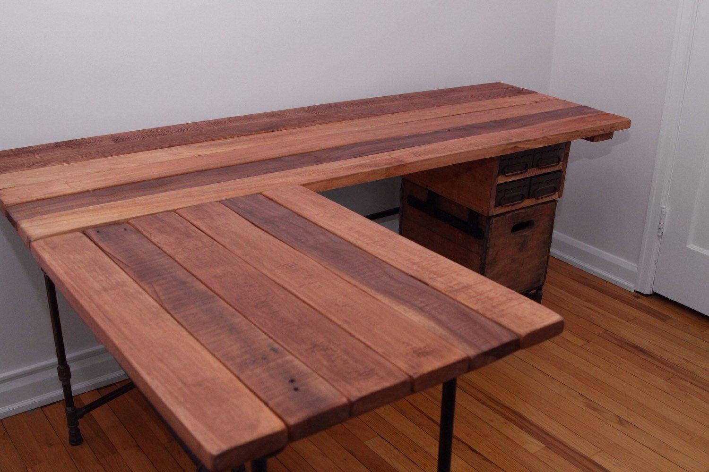 The Elle Desk Reclaimed Wood L Shaped Desk Wood Office Desk With Optional  Drawer L
