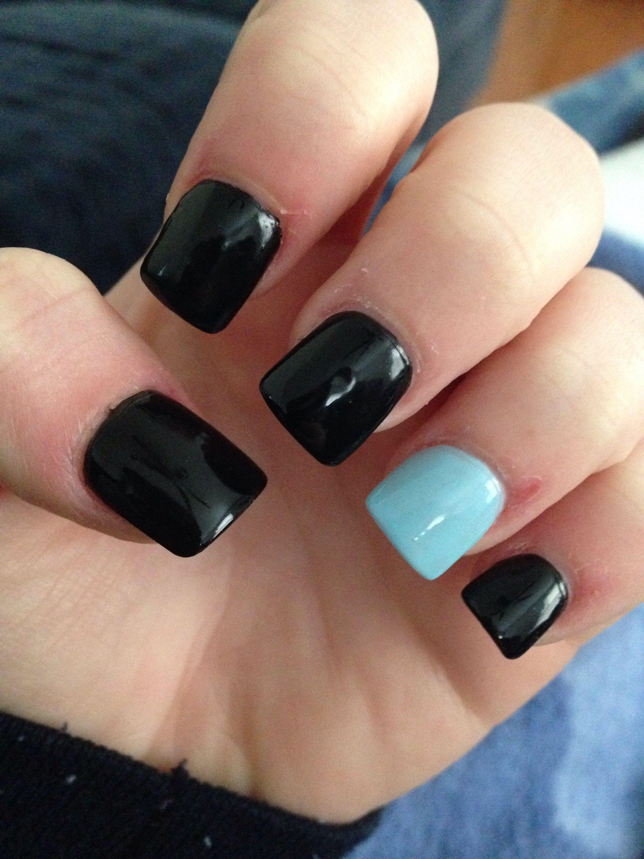 Acrylic Nails Black N Light Blue Nails Acrylic Nails Light
