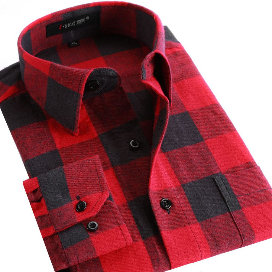 Shirts men flannel plaid shirt cotton spring autumn casual