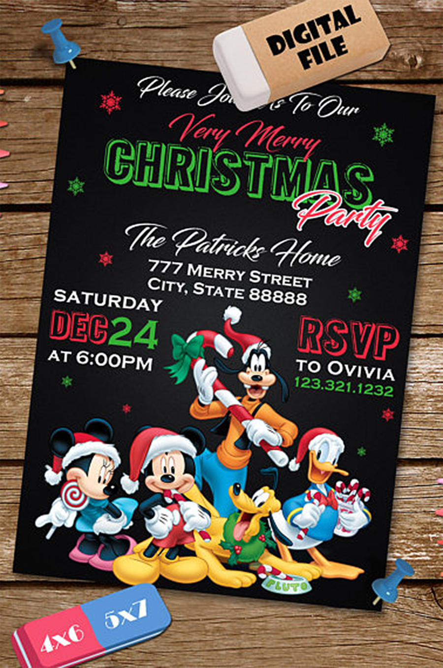 Custom printable Mickey Mouse Disney themed Christmas party ...