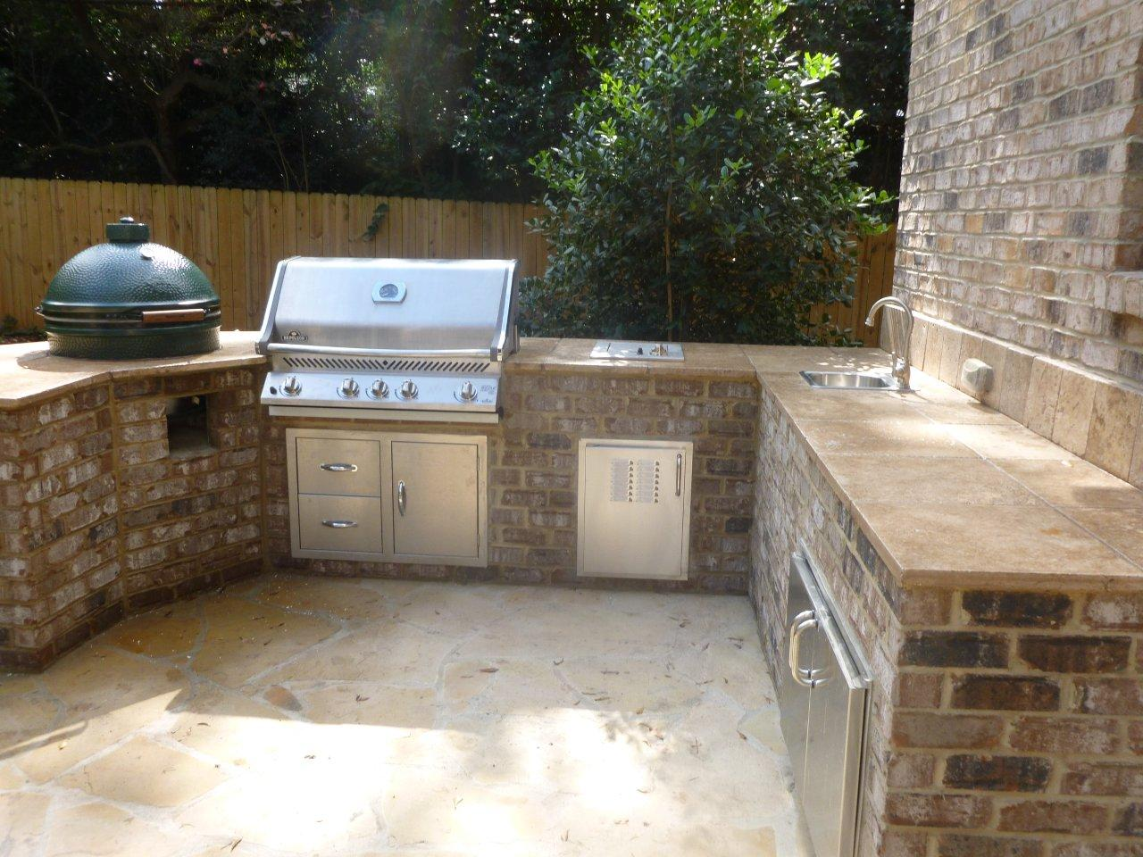 Grill, Travertine Counter, Outdoor Sink, And