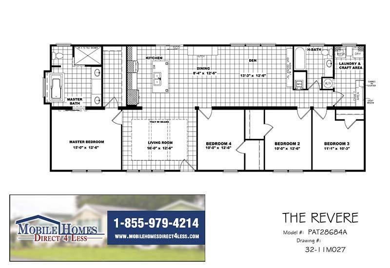 Clayton Revere Par28684a In 2020 Mobile Home Floor Plans Double Wides For Sale Revere