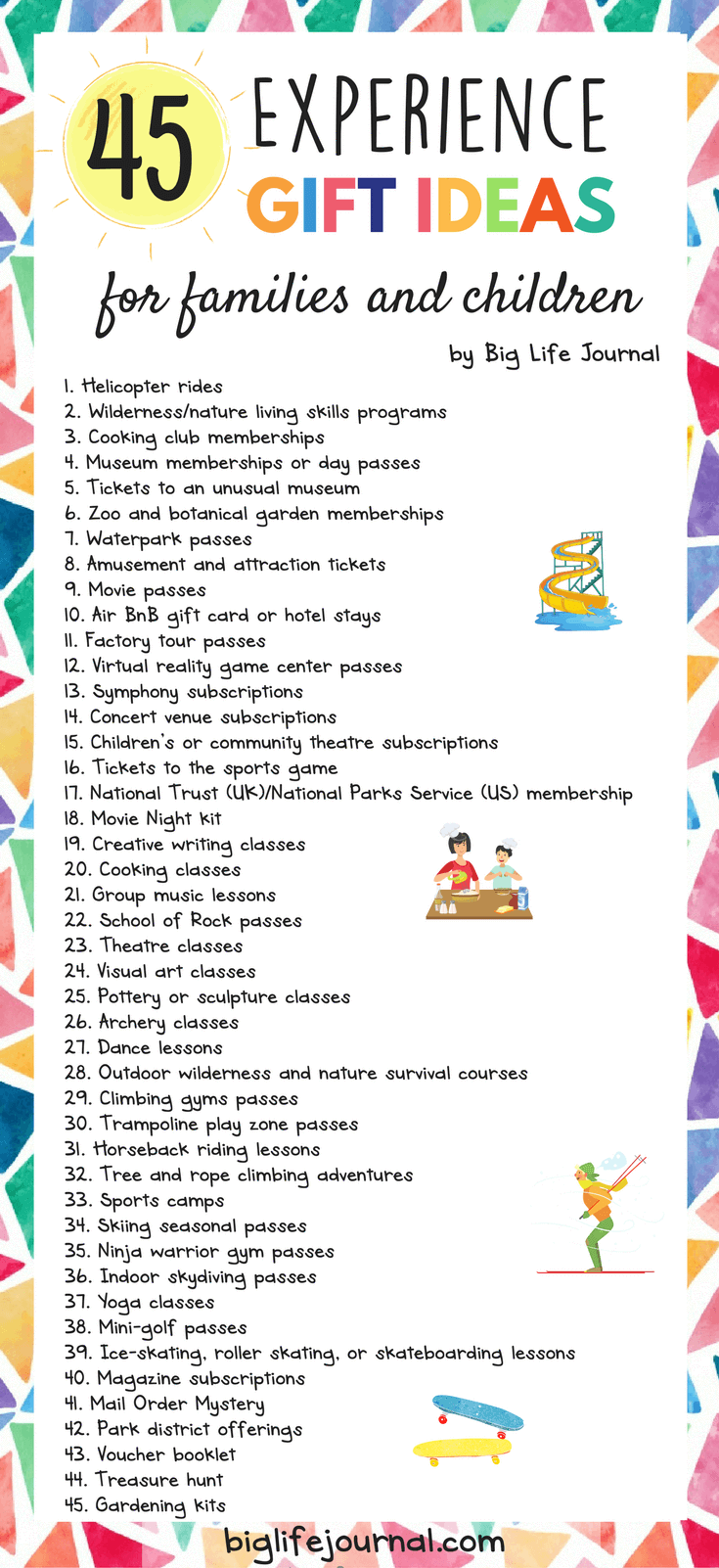 50 Experience Gift Ideas for Families & Children | Growth Mindset ...