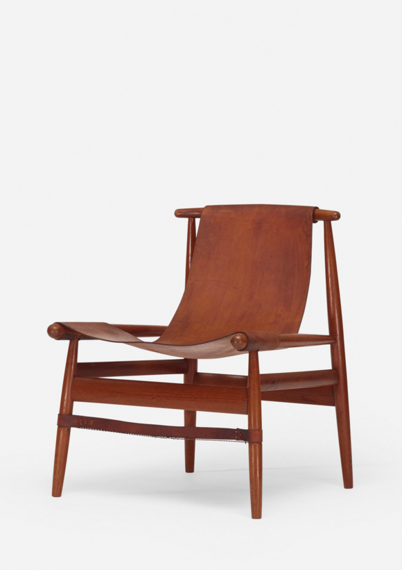 George Johnson; Oak, Leather and Steel Wire Lounge Chair, c1960.