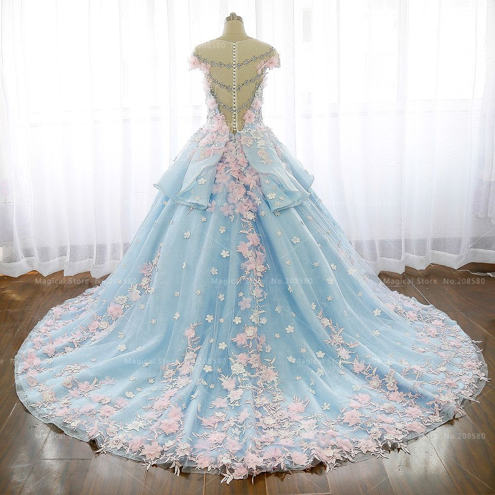 Luxury Arab Wedding Dress Blue Lace Pink Flowers Turkey Country ...