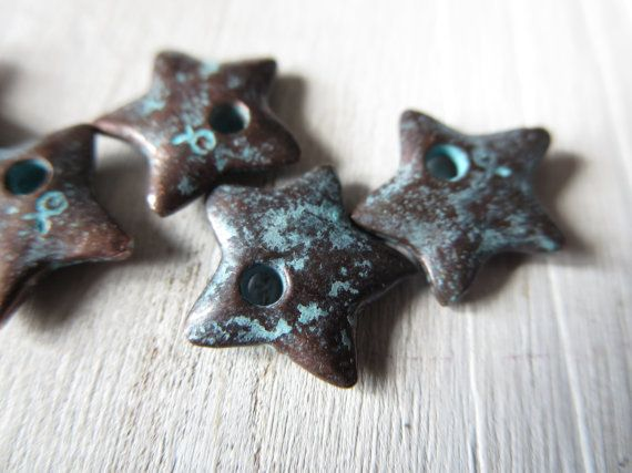 small star charm  accent  metal charm rustic boho  , aqua green patina on  bronze  finish   - 13  mm / 6 pcs - 4bmk30