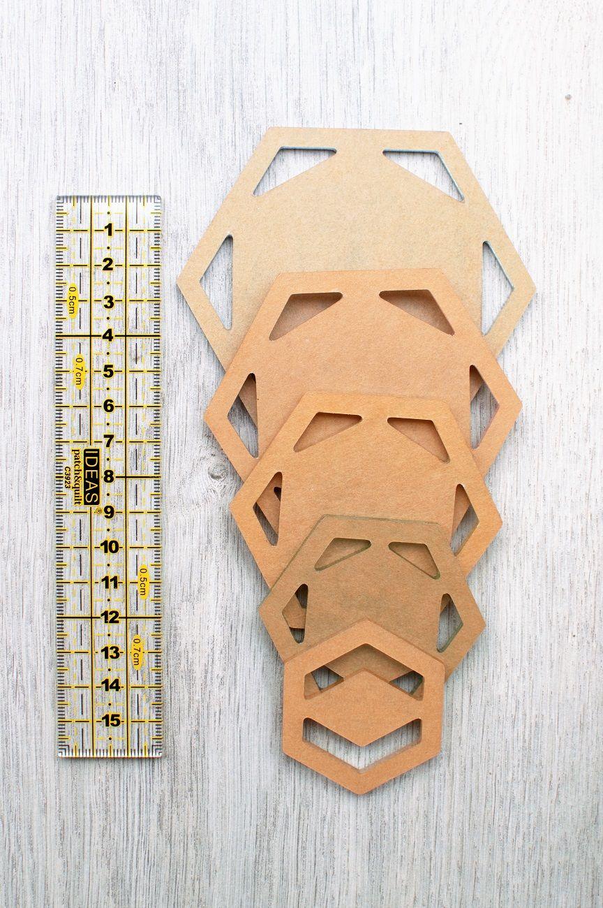 Set de 5 plantillas de metacrilato para hexágonos de patchwork ...