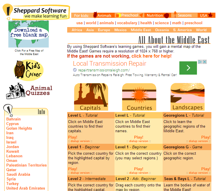 Geography games about the Middle East | Resources on Asia