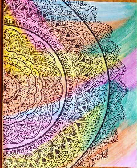 Mandalas Pintados Con Acuarela Art Ideas Mandala Art Mandala