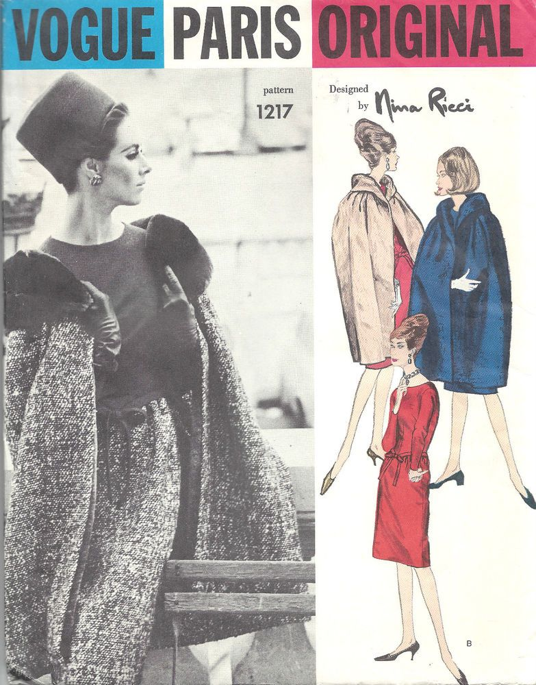 1963 Vintage VOGUE Sewing Pattern B34 CAPE & DRESS (1344) By NINA ...