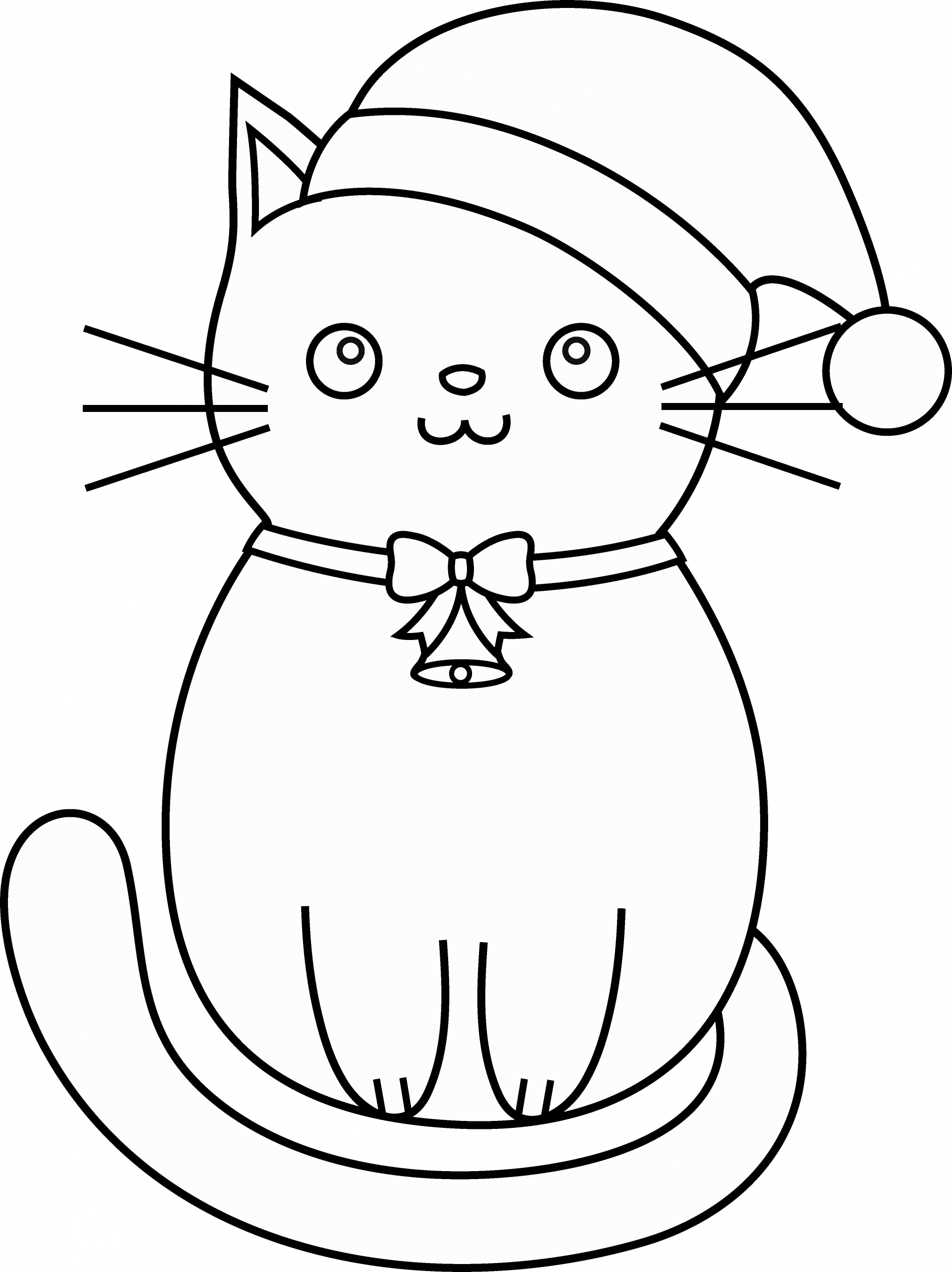 Christmas Kitty Coloring Pages Fresh Christmas Cat Line Art Free Clip Art Kitty Coloring Cat Coloring Page Christmas Coloring Pages