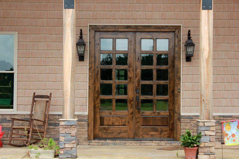Furniture Old Solid Wood Exterior Door With Black Metal Handle And