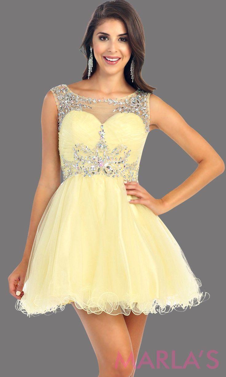 a9414aef2f7ac Yellow Beautiful Short Tulle Skirt Dress #graduationdress #graddress  #promdress #bridaldress #showerdress