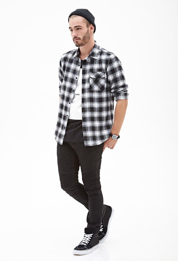 50066b3298 Blurred Plaid Flannel Shirt in white black