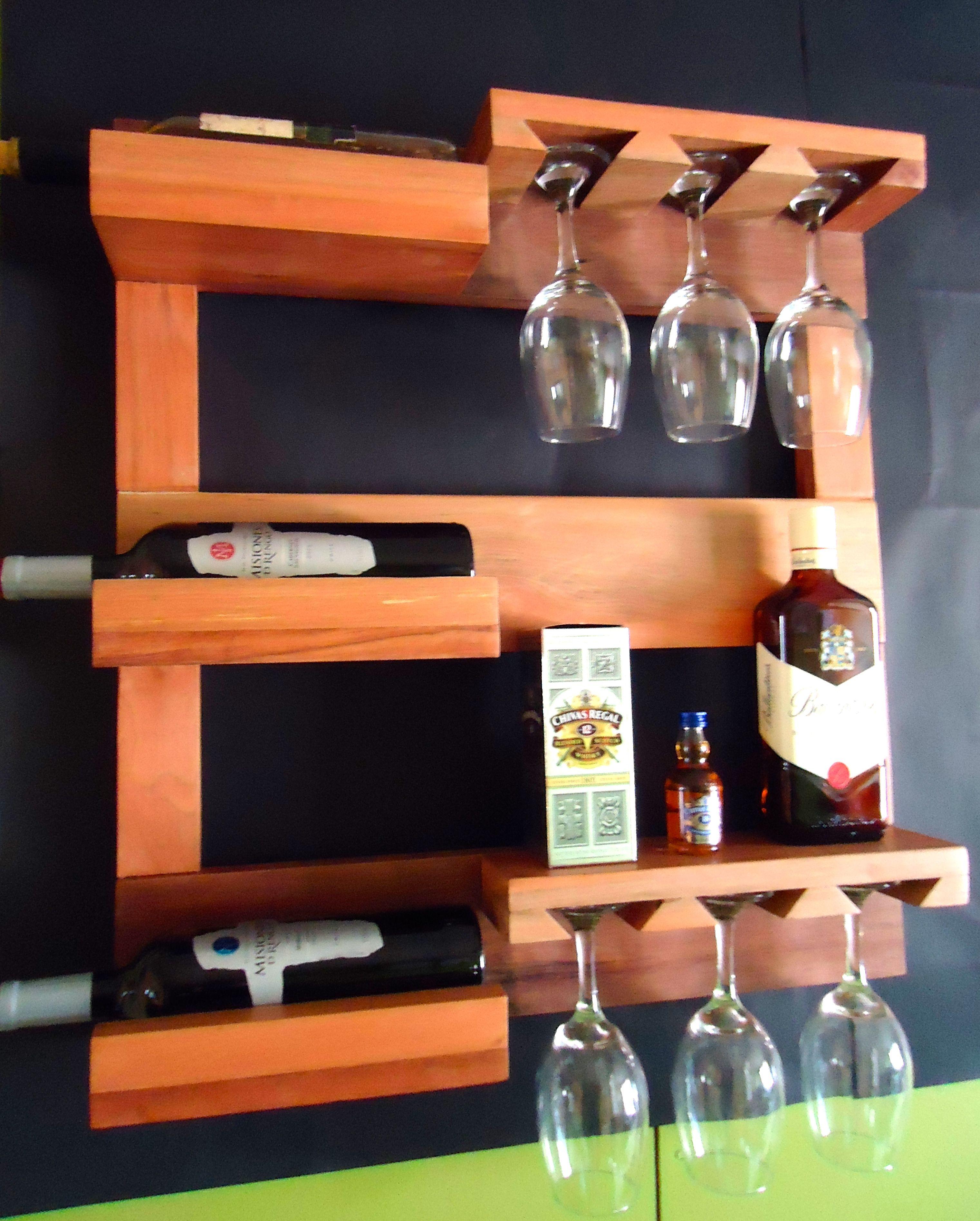 repisa para vinos y copas en madera recuperada, roble y raulí | Bar ...
