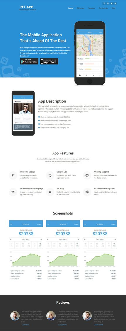 MyApp Mobile Apps WordPress Theme | Responsive WordPress Themes ...