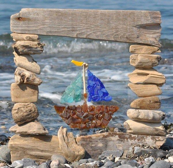 cadre en bois flott dco bord de mer - Cadre Bois Flotte Decoration
