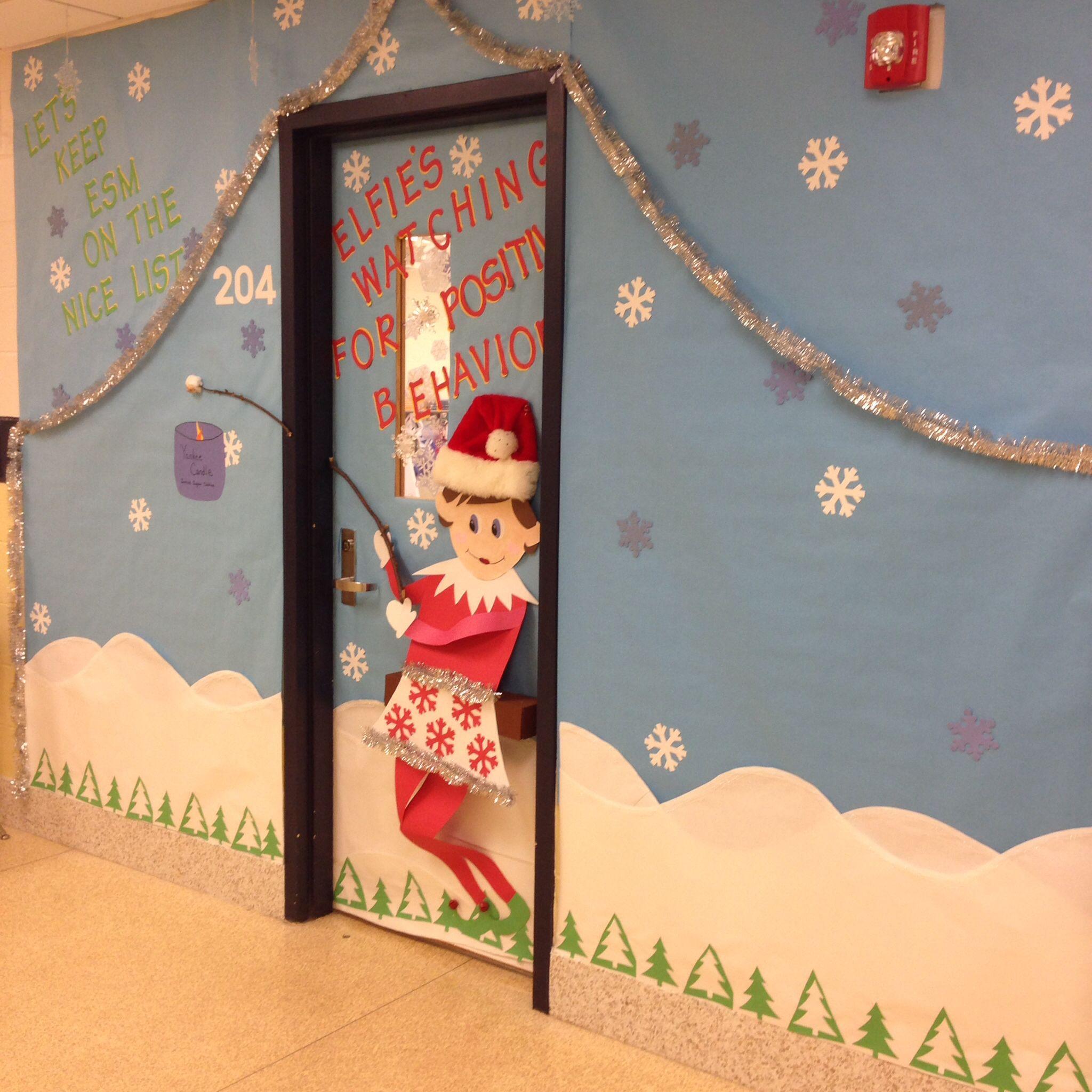 Holiday Elf On The Shelf Classroom Door Decoration Door
