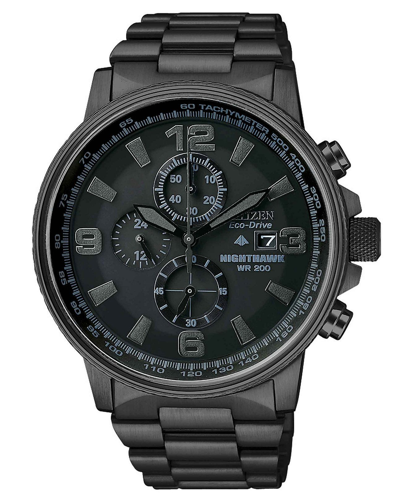 Citizen Men s Chronograph Eco-Drive Nighthawk Black Ion Plated Stainless  Steel Bracelet Watch 43mm CA0295 25f41ba4ae
