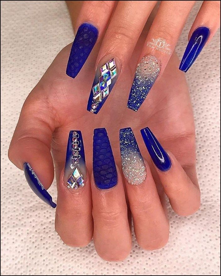 97 Great Ideas How To Make Acrylic Nails To Try This Year Page 9 Homeinspirationss Com Blue Coffin Nails Blue Acrylic Nails Coffin Nails Designs