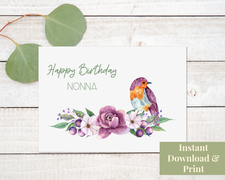 Nonna Card Nonna Printable Happy Birthday Card Greeting Card For Italian Grandmother Happy Birthday Cards Printable Birthday Card Printable Grandma Birthday Card