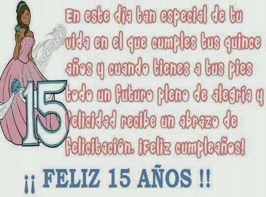 Feliz 15 Años Cumpleaños De 15 Años Felicitaciones De