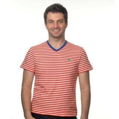 camisetas com listras lacoste masculinas
