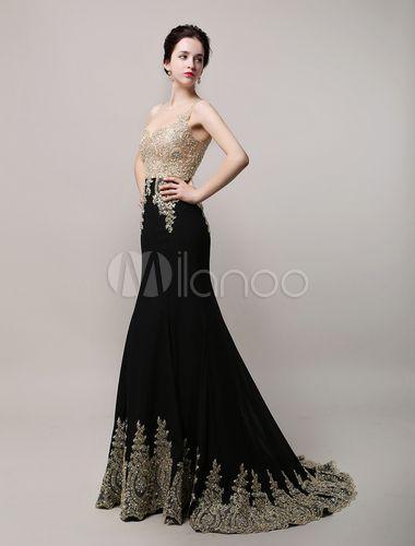 Stunning Black Chiffon Golden Applique Mermaid Evening Dress with Rhinestone Illusion Bodice and Court Train - Milanoo.com