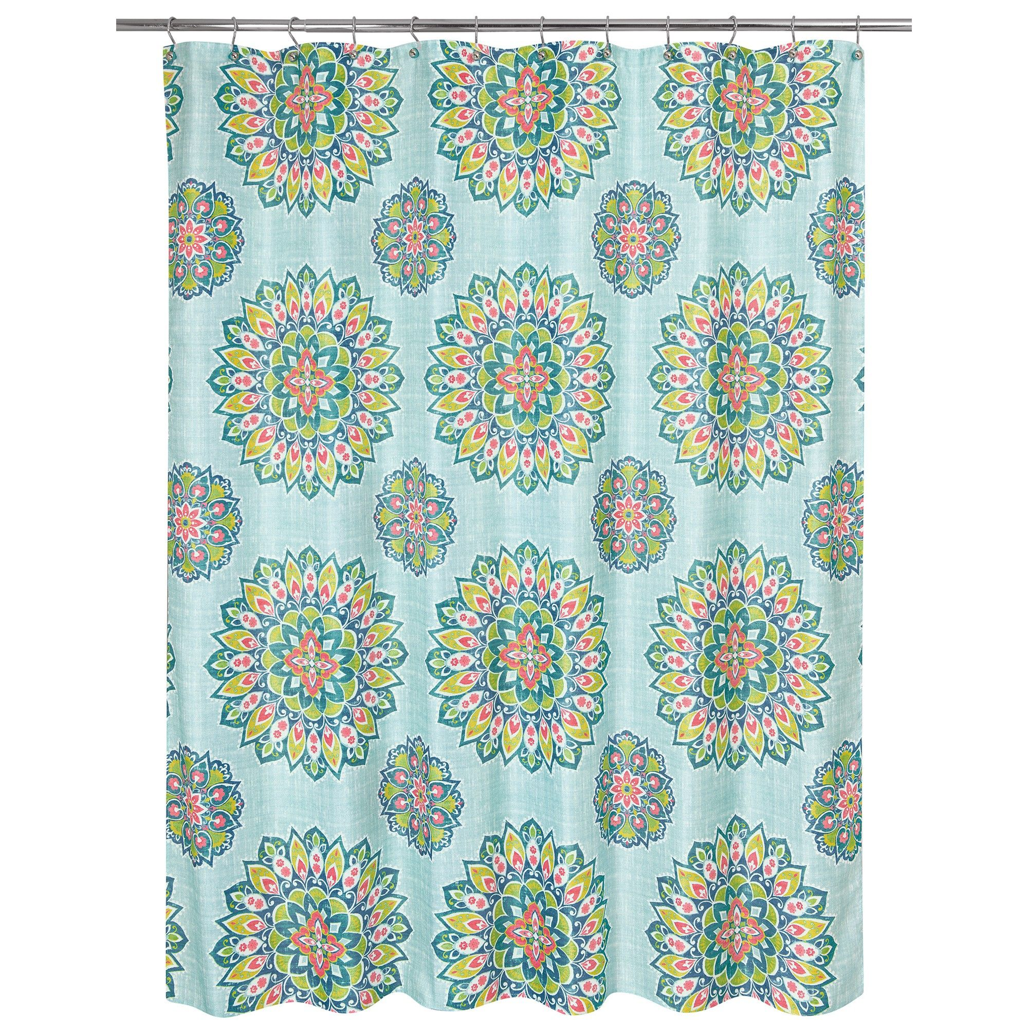 Ariel Medallion Shower Curtain Green Allure Home Creation