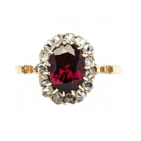 Antique Victorian garnet and diamond ring - Trumpet & Horn by denise.su