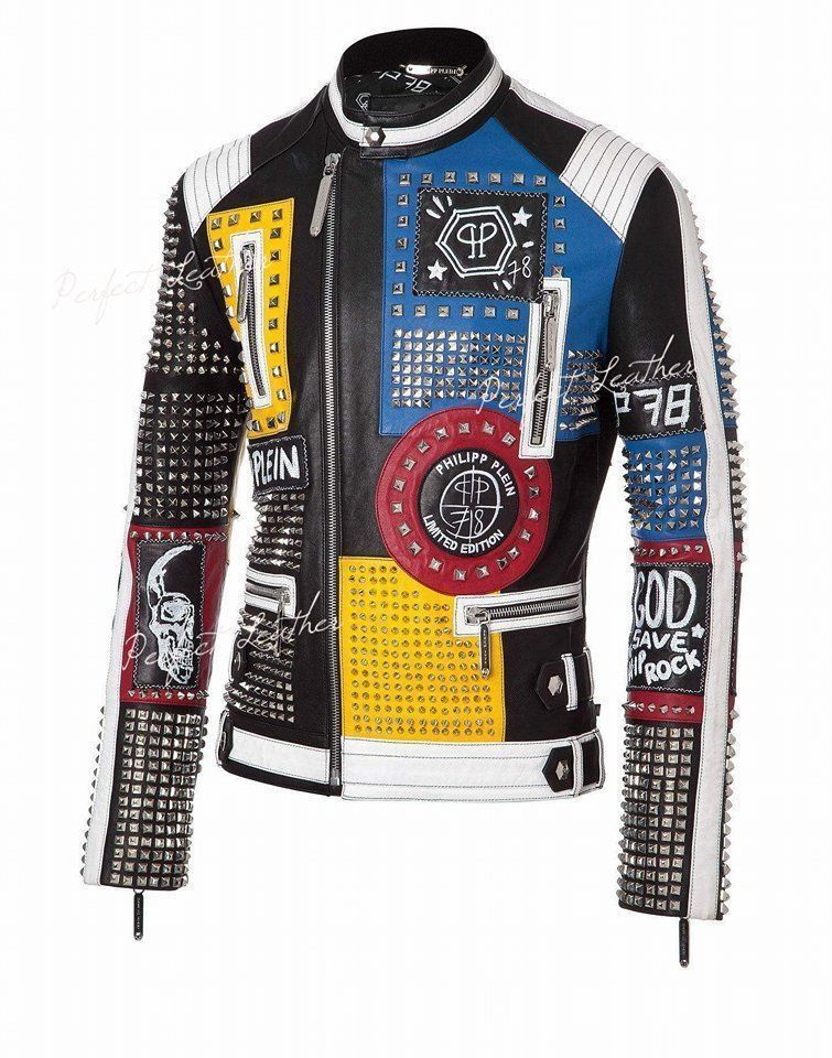 1e5c59bd4391e Philipp Plein Multicolor Full Studded Embroidery Patches Handmade Leather  jacket   eBay