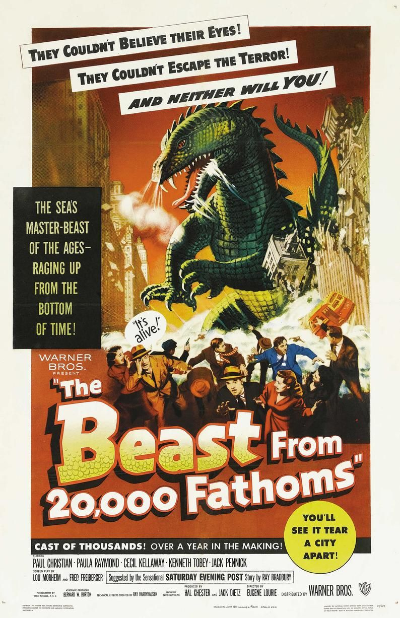 The Beast From 20000 Fathoms 1953 Vintage Poster Reprint Etsy In 2020 Classic Movie Posters Science Fiction Movie Posters Movie Posters Vintage