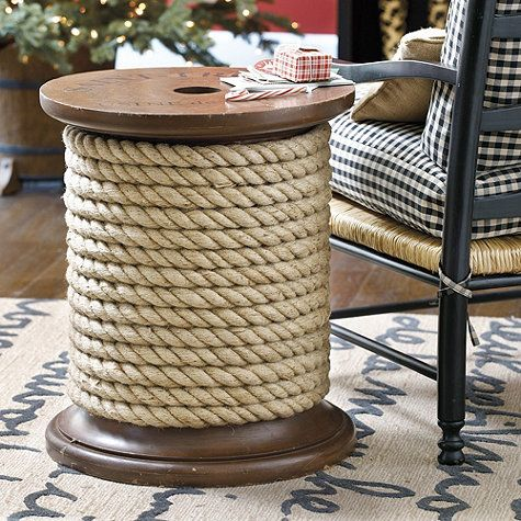 Spool Side Table: The Unique Design For This Wood Side Table Was Inspired  By Actual Spools Used By French Rope Makers To Sell Their Natural Fiber  Manila ...